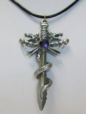 Pewter Snake Dragon Dagger Sword Made With swarovski diamante,Purple or Amethyst