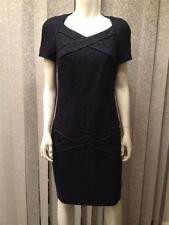 CHANEL Fall 12A Fantasy Tweed Wool Short Sleeve Dress 38 FR Black Navy $6136