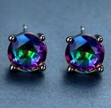 Beautiful Black Gold Filled Mystic Rainbow Topaz Round Shaped Stud Earrings 7mm