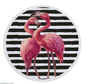 3D Pink Flamingo ZHU134 Summer Plush Fleece Blanket Picnic Beach Towel Dry Zoe