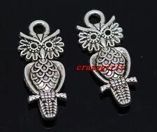 30pcs Retro style Tibet silver auspicious owl charms Pendants 21x9mm(lead free)