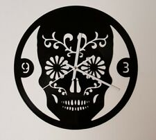 Sugar Skull Clock Carved from Recycled Vinyl Album Fully Functioning Gift