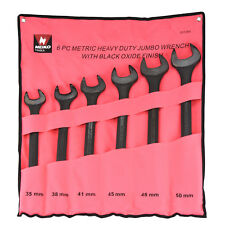 6pc Jumbo Metric Wrench Black Oxide Raised Panel 35 48 & 20mm w/ Pouch Tool Set