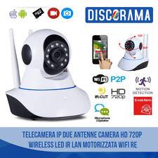 TELECAMERA SORVEGLIANZA IP CAMERA HD 720P WIRELESS LED WIFI RETE 2 ANTENNE LED