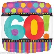 "Anagram HAPPY 60th BIRTHDAY 60 Today Unisex Square Foil Helium Balloon 18"" 45cm"