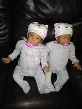 "Reborn Dolls Twins Sweet Pea Awake and Asleep 23"" African American Girls"