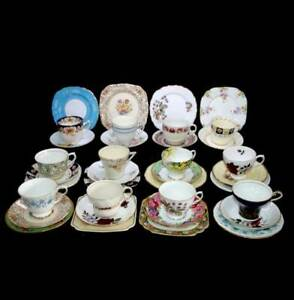 Vintage 54 pc 12 person Mad Hatter's Tea Party mismatched teacups trios set