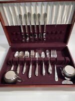VINTAGE 46Pc.  SET WM ROGERS MFG CO. SILVERWARE Nobility Plate In Case