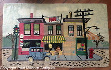 Antique Folk Art American Downtown Scene Hooked Rug