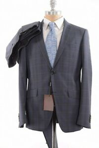 ETRO NWT Suit Size 46R In Blue With Brown & Green Plaid $1,895