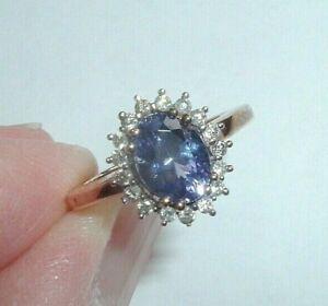 9ct Gold Tanzanite Diamond Ring Free Sizing