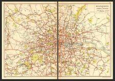 Londres. bus et tram itinéraires de londres & ses environs 1923 ancienne vintage carte plan graphique