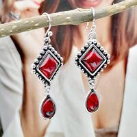 Retro Women 925 Silver Red Ruby Ear Hook Dangle Drop Earrings Proposal Jewelry