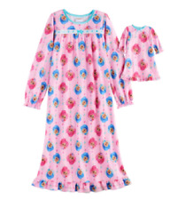 Shimmer & Shine Girls Pink Flannel Nightgown with Matching Doll Gown Girl Size 4