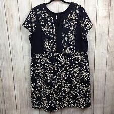 Simply Emma 3X Plus Women's Dress Short Sleeve Floral Black Yellow Work Casual