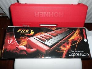 HOHNER FIRE MELODICA BOXED SUPERB TONE 32 KEYS WITH PIPE  !!