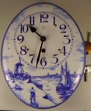 Antike Email Wand Küchen Uhr Holland Motiv um 1900