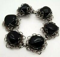 "Vintage Chunky Black Stone Silver Tone Filigree Bracelet 7.25"" Statement"