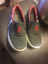 Toddler boy preowned black Ralph lauren slipon shoes size 10.5