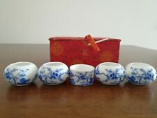 1set 5pcs Asian Bamboo Blue Bird Cage Set Plum blossom grass ceramics Cup 陶瓷鸟食�