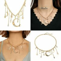 Chic Multilayer Women's Choker Jewelry Crystal Moon Necklace Pendant Star Chain