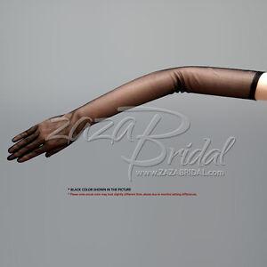 """23.5"""" Long Gorgeous Sheer Gloves Slip-on Opera Length 16BL"""