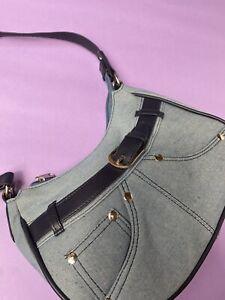 Y2K 00s Blue Denim Jean Belt Hand Bag Bucket Crescent 90s Handbag
