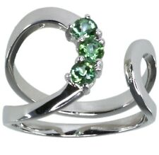 Green Tourmaline Gemstone Open Wrap Sterling Silver Ring size K