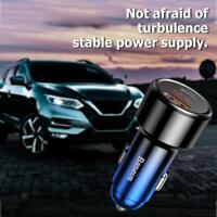 Baseus 45W Quick Charge 3.0 USB Car Phone Charger Type C PD Fast Phone Charger