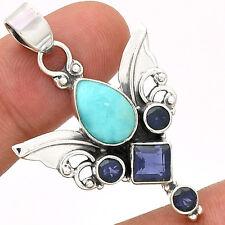 Sacred Angel Wings - Larimar 925 Silver Pendant  Jewelry PP43806
