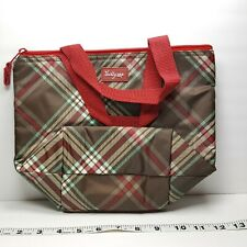 Thirty-One Small Thermal Lunch Tote Red Plaid Print