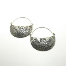 Fine Sterling Silver 925 Earrings Huggie Style Womens Half Moon Vintage Engrave