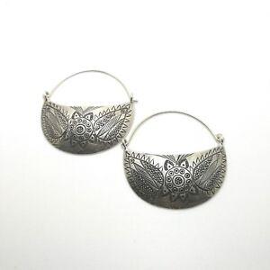 Fine Sterling Silver 925 Earrings Huggie Style Womens Half Moon Vintage Engrave