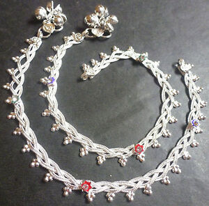 """Indian Silver Plated 10"""" Payal Foot CZ Stone Design Chain Anklet Set c"""