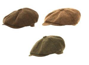 HERRINGBONE NEWSBOY CAP 8 PANEL GATSBY BAKER BOY PEAKY BLINDER FLAT UK SELLER