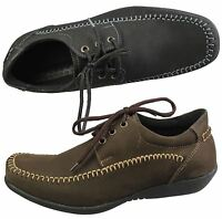 MENS CASUAL DECK LOAFERS SMART NUBUCK LEATHER COMFORT DRIVING LACE UP SHOES NEW