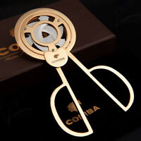COHIBA Gold Plated Stainless Steel 3 blades Cigar Scissors Cutter Cigar + Pouch