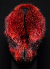 Saga Furs Real Red Finn Raccoon Fur Handmade Stole Shoulder Wrap Shawl Scarf 51""