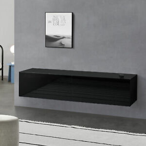 Lowboard Hängeboard mit Schranktüren Fernsehtisch Kommode Schwarz hochglanz
