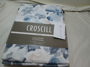 "Croscill  LYLA Floral Cotton Shower Curtain 72""x72"" Blue/Grey, Beige NEW"