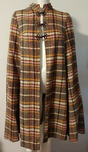 Vintage Wool Cape OS S M L Brown Pink Orange Ivory Plaid