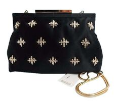 BADGLEY MISCHKA GWENDOLYN Black Silk Evening Clutch Shoulder Bag Msrp $295