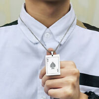 Ace of Spades Poker Gamble Pendant Men Necklace Chain Stainless Steel Lucky Gift