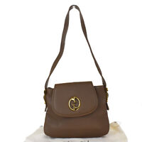 Authentic GUCCI GG Logo Shoulder Bag Leather Brown Gold-Tone Italy 81MG365