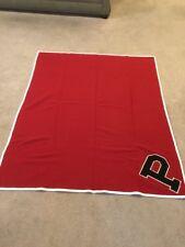"Vtg Pendleton Blanket '30-'42 Solid Red With White Border Large ""P""  61"" X 76"""