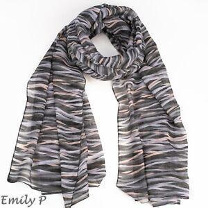 Women Grey Camouflage Striped Oversized Fashion Scarf Shawl Wrap Sarong Ladies
