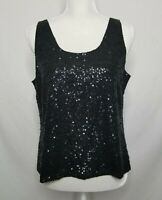NWT Eileen Fisher Womens PL Petite Large Black Scoop Neck Silk Sequin Tank Top