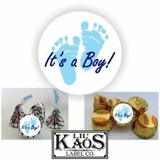108 It's a Boy Blue Footprints Sticker Labels Baby Shower Party Favor Kisses Its