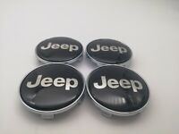 BRAND NEW - JEEP CENTRE HUB CAPS ALLOY WHEEL BLACK CHROME X4 68MM UK SELLER