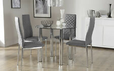 Solar & Renzo Glass & Chrome Dining Table And 4 Chairs Set (Grey)